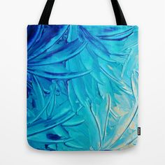 WATER FLOWERS - Beautiful Water Ocean Theme Shades Blue Floral Modern Design Abstract Painting Tote Bag by EbiEmporium - $22.00