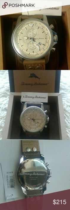 Tommy Bahama Mens Watch Tommy Bahama watch is created in the finest watchmaking tradition  using high quality Swiss and Japanese made quartz movement.  Genuine leather,  water resistant, screw down crown,calender, chronograph, dual time display, finger release straps, and warranty certificate. Tommy Bahama Accessories Watches