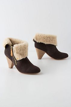 Shearling Cuffed Booties #anthropologie  So cute with skinny jeans or leggings.