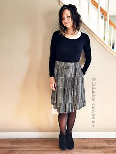 Lularoe Madison skirt with black shirt and Clark's booties for fashion trends.  Shop here: https://www.facebook.com/groups/LularoeKaraMiller/