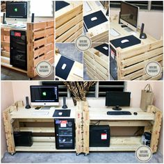 #Desktop, #Office, #PalletDesk, #RepurposedPallet PC, Drybox, & Speaker in one desk did with upcycled pallets!