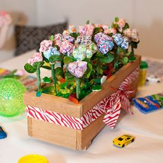 This candy-covered centerpiece is perfect for the kids' table.