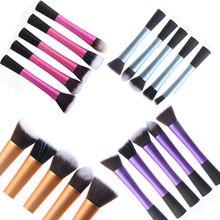 Pincéis de maquiagem 4 Pcs Rosa Verdadeira Marca Escovas Kit Kabuki Make up Jogo de Escova ferramentas de Beleza Sopro Profissional Escova de Sobrancelha cosméticos(China (Mainland))