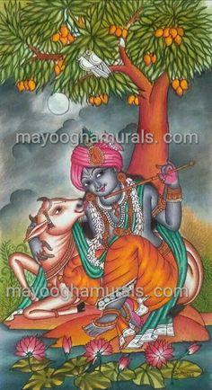 Mayoogha Mural Paintings : Krishna Mural Painting Kalamkari Painting, Krishna Painting, Madhubani Painting, Krishna Art, Kerala Mural Painting, Indian Art Paintings, Mysore Painting, Indian Artwork, Pop Art Drawing