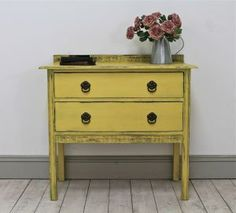 Distressed Two Drawer Vintage Painted Chest. - For Sale | Distressed But Not…