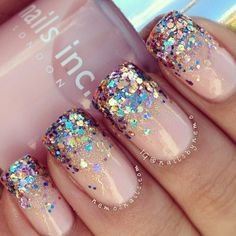 Pink with glitter Nail Art Designs, Nail simple nail designs. Lovely Summer Nail Art Ideas, Art and Design. Red, White, and Gold Glitter Nail Art Design Pink Glitter Nails, Fancy Nails, Love Nails, My Nails, Sparkly Nails, Bling Nails, Glitter Manicure, Prom Nails, Gold Glitter