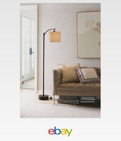Exceptional Black Downbridge Floor Lamp With Grey Shade   Threshold™