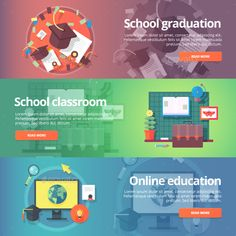 Education and School Banners Set
