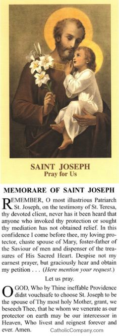 Memorare to St. Joseph prayer card. Comes as a pack of 100 - hand out to others to spread devotion to St. Joseph. He doesn't fail!