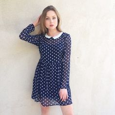 💛FAV💛 Polka Dot Peter Pan Dress I mean... What girl doesn't love a collared Peter Pan dress? This super sweet dress is very Alexa Chung. Make it preppy, rock and role, the possibilities are endless. Back tie makes it a good fit for dress sizes 0-8. Please note this dress is sheer and does not come with the slip worn in photographs! (Not mod cloth) ModCloth Dresses Mini