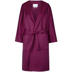 Max Mara Lilia Berry Belted Cashmere Coat ($920) ❤ liked on Polyvore featuring outerwear, coats, jackets, coats & jackets, cashmere coat, maxmara, belted coat, purple coat and maxmara coat