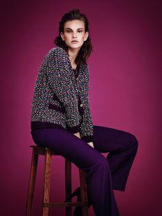 veste tricot en fil de laine , style chanel