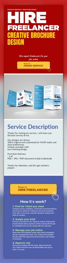 Creative Brochure Design Design & Graphics, Brochure Design   Thanks for visiting my service, i will show you the best service of me.     Our designs are always 100% original and customized to YOUR needs and style preferences.   Unique concepts with eye-catching design,    Final Item Delivery:   - 1 of PSD / JPG / PDF document Inside & Backside     Thanks for attention, and let's get started a...