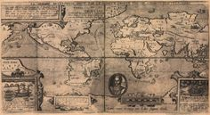 Vintage Map of the World - Old Map of the World Sir Francis, Old Maps, Antique Maps, All World Map, Planning Maps, Urban Planning, Epic Photos, History Images, Home