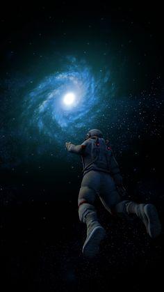 Astronaut, spiral galaxy, nebula, cosmos universe, dark, 720x1280 wallpaper