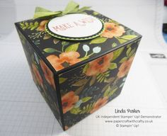 Linda Parker UK Independent Stampin' Up! Demonstrator from Hampshire @ Papercraft With Crafty : Large Fold Flat Cubed Box Pictorial - Whole Lot of Lovely DSP Paper Cube, Paper Boxes, 3d Paper, Happy Birthday Gorgeous, Paper Engineering, Decorative Bows, Card Storage, Stampin Up Catalog, Treat Holder