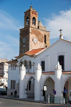 Beja, the white simplicity of the portuguese small towns - the church and the clock tower -Portugal Braga Portugal, Visit Portugal, Spain And Portugal, Portugal Travel, Portuguese Culture, Iberian Peninsula, Southern Europe, Azores, Place Of Worship