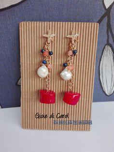 Orecchini con perle e corallo bambù, perno in argento 925, fatti a mano in…