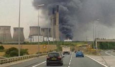 A large fire breaks out at Ferrybridge C power station in West Yorkshire, causing the partial collapse of a tower. Fire Equipment, Fire Powers, West Yorkshire, Water Damage, Wind Turbine, How To Remove, Tower, The Unit, Station Fire