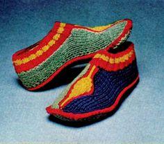 Vintage 70s Knit Knitting Ladies Turkish Slippers