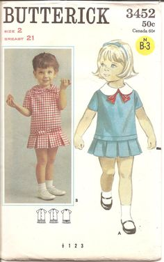 1960s Girls Drop Waist Dress  Butterick 3452 by ErikawithaK