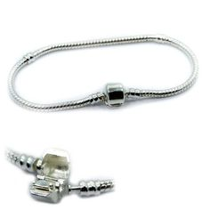 Barrel Clasp Bracelet Silver Plated Snake Chain for Beads Charms Women's Jewelry #Unbranded #Chain