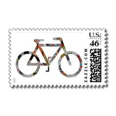 postage stamp wall art | original mixed media collage art BICYCLE. Perfect way to show off your ...