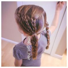 We did braids into pigtail braids the other day. Looked cute and it stayed, even through jumping on the trampoline in water. #littlegirlhairstyles #littlegirlhair #toddlerstyle #hair #braids #pigtails #pigtailbraids #thickhair #longhair #brownhair