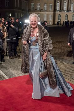 Queen Margrethe of Denmark arrives at the Traditional New Year's Banquet, at, Amalienborg Palace, on January 1, 2017, in Copenhagen, Denmark.