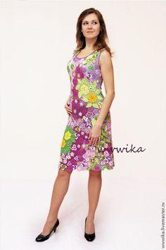 Купить Платье сиреневое цветочное. - цветочный, сиреневый, платье, платье вязаное, сарафан, сарафан крючком