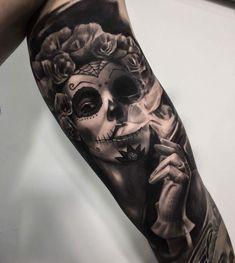 Tattoo Tattoos 3d, Skull Rose Tattoos, Skull Girl Tattoo, Native Tattoos, Chicano Tattoos, Bild Tattoos, Badass Tattoos, Body Art Tattoos, Day Of The Dead Tattoo Sleeve