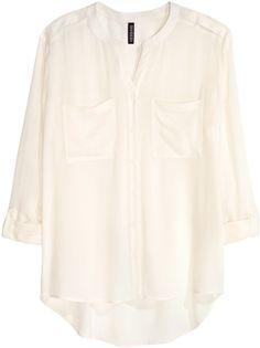 H&M - V-neck Blouse - White - Ladies