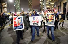 Protesters outside of the Federal building in Minneapolis, Jan. 31.