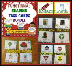 Functional Reading Task Cards Bundle: A bundle of 3 sets of task cards designed to work with environmental print and functional reading curriculum.  180 multiple choice task cards in all.  $7.50 #reading #lifeskills