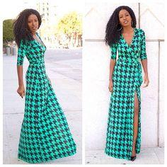 V-neck Plaid Split Long Sleeve Long Dress