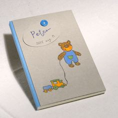 Baby Boy Journal, Memory Album, Personalized Baby Shower Gift, Blank Book for New Baby, Hand Painted Design Teddy Boy, New Born Gift - pinned by pin4etsy.com