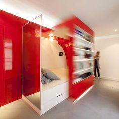 This amazing Paris apartment by Paul Coudamy is a lesson in smart design. Packing lots of living into a mere the Red Nest incorporates a bedroom, Modern Small Apartment Design, Small Apartments, Small Spaces, Sliding Wall, Mobile Living, Interior Architecture, Interior Design, Small Space Solutions, Home Decor Furniture