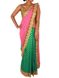 Shocking Pink and Green saree with Star shaped buttas and Golden cutwo – Sweta Sutariya