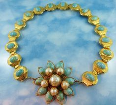 Stunning Designer Couture Runway Worthy Gold Tone & Turquoise Statement Necklace