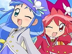 Fushigiboshi no futago hime ♥                           Yuki: pink haired girl                                             Chiyo: blue haired girl
