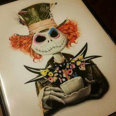 Tim Burton Hatter/Skelington mash-up art Tim Burton Art, Sketches, Art Drawings, Wonderland Tattoo, Drawings, Disney Art, Disney Tattoos, Artwork, Alice In Wonderland