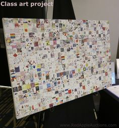 individual art combined into one School Auction Projects, Class Art Projects, School Fundraisers, Non Profit, Fundraising, Charity, Craft Ideas, Creative, Kids
