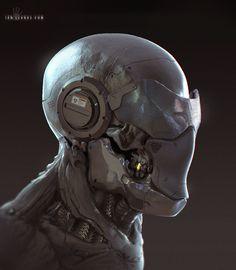 ArtStation - Cyborg Face sketch, Ian Llanas