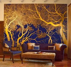 Gold leaf applied over a rich blue ground used for one wall of the library at Vanyavila, Ranthambore - Michael Freeman Photography Door Murals, Mural Wall Art, Cute Diy Room Decor, Wall Decor, Home Interior Design, Interior Decorating, Home And Living, Decoration, Beautiful Homes