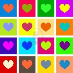 Artística de estilo pop art formas corazón en diferentes colores. Foto de archivo - 10823084