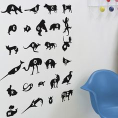 These are kind of cool, though I can't make out what some of the images are supposed to be. Blik - Alphabet Zoo Re-Stik Wall Decal - RS-TH-103 - Home Depot Canada