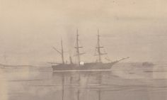 The steamer under the midnight sun, anchored about two miles from the devil's thumb, 1869 From The Arctic regions, illustrated with photographs taken on an art expedition to Greenland Created by William Bradford, published 1873.