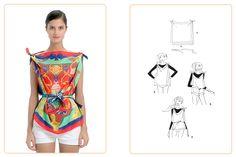 Ce nouage « Top au carré » est réalisable avec deux carrés 70x70 cm. Jouez avec votre carré Hermès avec l'application Silk Knots ! #Hermes #Silk #SilkKnots
