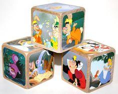 Alice In Wonderland Children's Wooden Baby Blocks - Baby Shower Gift - Nursery Room Decor - 2 Inch All Hard Wood