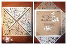 affordable pearl white floral laser cut wedding invitations EWWS017